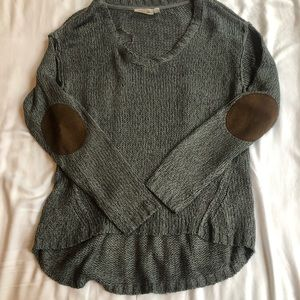 Gray sweater with elbow pads